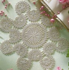 Crocheted Doily Set of Spiral