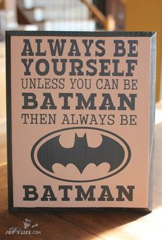 Awesome Wooden Painted Batman sign that Joy made for her son. She how she did it at www.joyslife.com