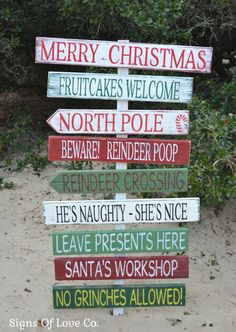 Christmas Decorations Holiday Wood Signs Outdoor Indoor Outside Decor Pallet Rustic Display Custom Yard Porch Entry