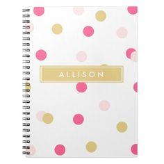 Pink and Gold Polka Dot Monogram Notebook | coffeecatdesigns