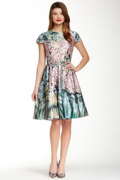 Dixee Glitch Floral Print Dress
