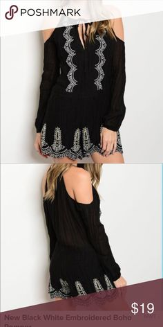 New Black /White Embroiled Boho Romper Long sleeve cold Shoulder Embroidery detail York tie Romper 💯 Rayon Other