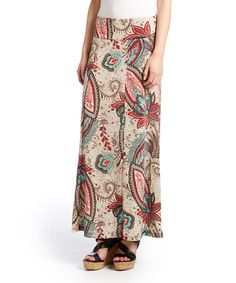 This Beige & Red Floral Paisley Maxi Skirt is perfect! #zulilyfinds
