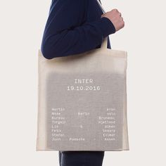 Typographic tote by William Stormdal . Bag Packaging, Print Packaging, Packaging Design, Branding Design, Product Packaging, Corporate Design, Label Design, Web Design, Print Design
