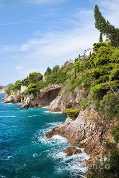 Coastline of the Adriatic Sea near Dubrovnik in Croatia, Dalmatia County.