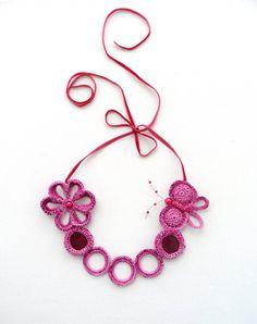 Crochet Pink Necklace  Beaded  Necklace  Choker  by CraftsbySigita,