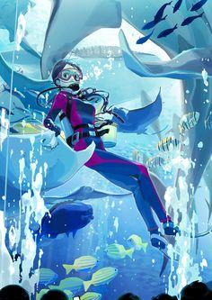 水の中を散歩するように、さまざまな水棲生物が眺められる「水族館」。色鮮やかな熱帯魚に神秘的にただようクラゲや、目を見張るほど大きなジンベイザメ……。実際に生息する海や川に行けなくても、水族館を一周すれば、世界中の魚たちと泳いでいるような素敵な時間を過ごせますよね。 本日は、青い光が涼やかな「水族館」をモチーフに描いたイラストを特集しました。巨大な水槽の中に広がる、幻想的な空間をお楽しみください。