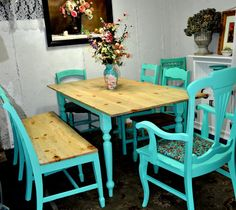 Antique distressed Farm table/ with added bench Farm Tables, Distressed Furniture, Kitchen Ideas, Sweet Home, House Ideas, Bench, Dining Table, Spaces, Antiques
