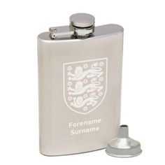 Show your support with the Personalised England Crest Hip Flask, complete with a name featured underneath the England crest. #England #Football  £29.95