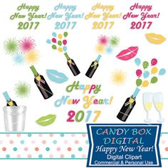 New Year Celebration Clip Art  by CandyBoxDigital. Perfect for use in cards or invitations, scrapbooks, journals, or on blogs or websites, and in the new Pantone 2017 colors! At our Etsy Shop!