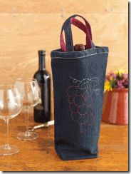 A wine gift bag to make from old jeans!