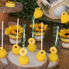 Ideas For Sunflower Bridal Shower Cake Dessert Tables Nautical Bridal Showers, Disney Bridal Showers, Elegant Bridal Shower, Tea Party Bridal Shower, Sunflower Party, Shower Cakes, Shower Ideas, Cake Pop, Sunshine Birthday