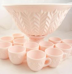 Vintage Jeannette Shell Pink Milk Glass Punch Bowl Set 12 Cups Ladle 1950's #JeannetteGlass