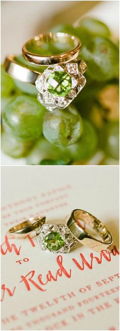 Green zircon, diamonds, engagement ring, gold wedding bands, winery wedding, Charlottesville // Jen Fariello Photography