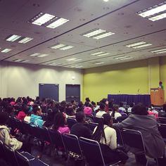 Introducing the speaker of an anti-bullying workshop for Walgreens at Black Women's Expo in Chicago
