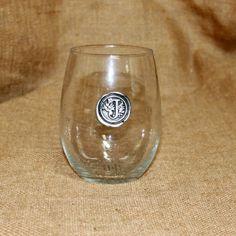 Boxwoods - Set of 4 Stemless Wine Glasses with Pewter Monogram