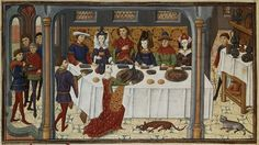 Medieval Christmas Traditions: The feast of the peacock, 15th century. Yes, when they served peacock at Christmas, they served it with the feathers on. Well, they took the skin and the feathers off to cook it, and then wrapped them back around the bird when it was done so it was presented at the table looking more like it did when it was alive. Sometimes, if they were feeling really extravagant, they gilded the combs. True fact.