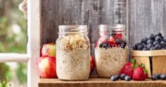 Overnight oatmeal in a jar A creamier, denser, more flavourful oatmeal made with protein rich Ricotta Cheese. The jar makes it portable for an easy, grab and go breakfast. Mason Jar Oatmeal, Oatmeal In A Jar, Overnight Oats In A Jar, Breakfast In A Jar, Grab And Go Breakfast, Overnight Breakfast, Breakfast Ideas, Mason Jar Meals, Meals In A Jar