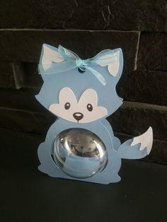 Boite à dragées baby renard bleu boule plexi ( baptême, naissance, anniversaire)