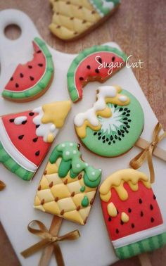 Watermelon, kiwi, and pineapple decorated cookies