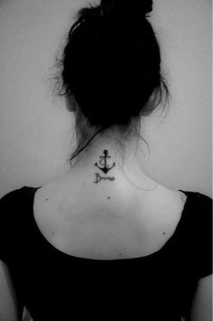 Anchor Tattoo Designs for Back of Neck.but shape the rope into a treble clef. Back Of Neck Tattoo, Back Tattoos, Leg Tattoos, Cool Tattoos, Tatoos, Pretty Tattoos, Small Anchor Tattoos, Anchor Tattoo Design, Small Wrist Tattoos