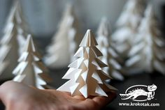 {DIY Origami Fir Tree} perfect for christmas or winter weddings! Winter Christmas, All Things Christmas, Christmas Holidays, Christmas Ornaments, Handmade Christmas Tree, Xmas Tree, Fir Tree, Origami Christmas, Diy And Crafts