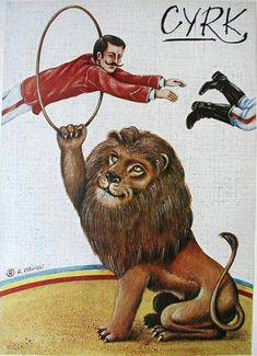 CYRK:   Lion ringmaster       Rafal Olbinski   1980