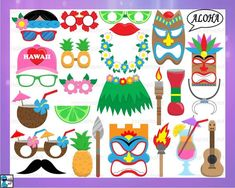 Hawaii Props Ver.2 - Cutting Files SVG PDF JPG Digital Graphic Design Instant Download Commercial Use Party Photo Booth (00917c) Craft Supplies & Tools clipart clip art HTV vinyl image monogram Silhouette Studio cricut cameo vector beard cut cutting hat flower necklace beard sunglasses totem drums cocktail aloha dancer coconut luau hawaii hula tiki decal prop photo booth summer mask hawaii svg Canvas & Surfaces Paper Collage Sheets Hawaiian Party Decorations, Hawaiian Luau Party, 3d Paper Crafts, Clip Art, Photo Booth Props, Commercial, Party Photos, Graphic Design, A4 Size