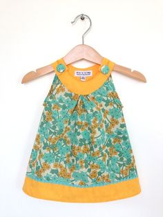 0 to 6 months newborn baby girl dress, turquoise and orange, by ThisisLullaby via Folksy, £28.00