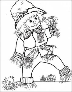 Coloring Page World: Halloween Scarecrow
