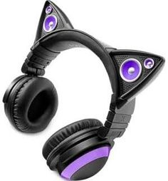 Brookstone Axent Wear Cat Ear LED Headphones - Purple