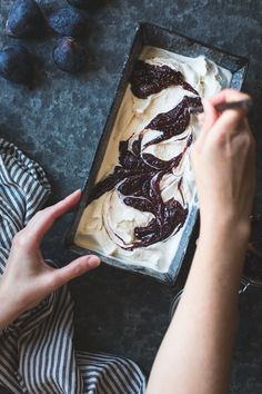 ... bourbon fig butter + smoked sugar ice cream with a fig swirl ...