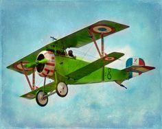 Vintage Airplane Art Print  Green Blue by SevenElevenStudios, $25.00
