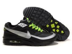 promo code 2db7d c4252 Cheap Authentic Nike Air Max Classic BW 91 Women Black Green And Silvery  Sneaker Online Store Store