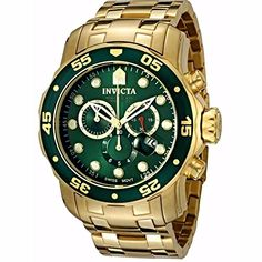 Buy Etc Now: Watches: Invicta Men's 0072 Pro Diver Collection Chronograph Gold-Plated Watch Men's Watches, Sport Watches, Cool Watches, Fashion Watches, Watches For Men, Luxury Watches, Relogio Invicta Pro Diver, Discount Watches, Best Watch Brands