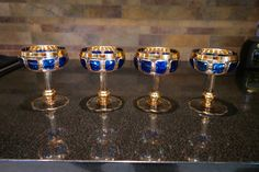 Rare Vintage MOSER Crystal Sapphire and Gold by Antiquevintagefind