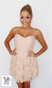 Feather Embellished Party Dress in Oyster by Natasha Gan