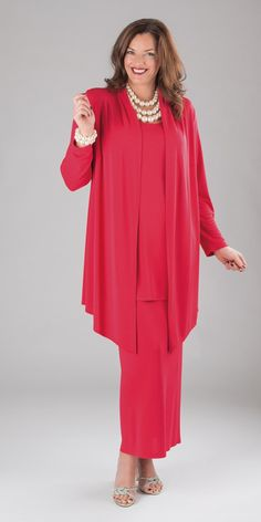Q'Neel red silky jersey jacket, vest and skirt