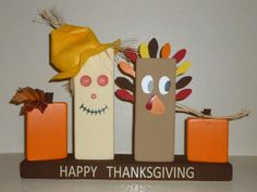 Wood Block Thanksgiving Decoration with Turkey by LisasLittleJoys, $25.00