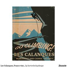 Les Calanques, France vintage travel poster Wood Wall Art