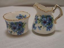 Vintage Hammersley centáurea azul Bone China Sugar & Desnatadeira mpn6034, Inglaterra, Ex