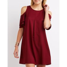 Charlotte Russe Tiered Cold Shoulder Shift Dress ($29) ❤ liked on Polyvore featuring dresses, burgundy, short-sleeve dresses, short sleeve dress, red shift dress, tiered dresses and short sleeve shift dress