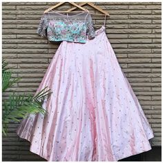 Mint Lavender Floral Lehenga - INR 7 Super Cute Sister Of The Bride Outfits With Prices ! Indian Gowns Dresses, Indian Fashion Dresses, Indian Designer Outfits, Pakistani Dresses, Modest Dresses, Designer Lehnga Choli, Designer Bridal Lehenga, Indian Wedding Outfits, Indian Outfits