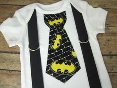 Batman Tie with Black Suspenders by bkchicboutique on Etsy