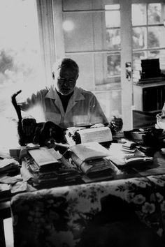 My dad has always loved Ernest Hemingway, author of A Farewell to Arms & The Old Man and the Sea. I thought I'd pay him a tribute by pinning this picture of him in his office
