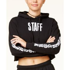 Justin Bieber Purpose Tour Juniors' Staff Cropped Hoodie (338.365 IDR) ❤ liked on Polyvore featuring tops, hoodies, black, crew neck hoodies, crew neck hoodie, crew top, sweatshirt hoodies and hooded pullover