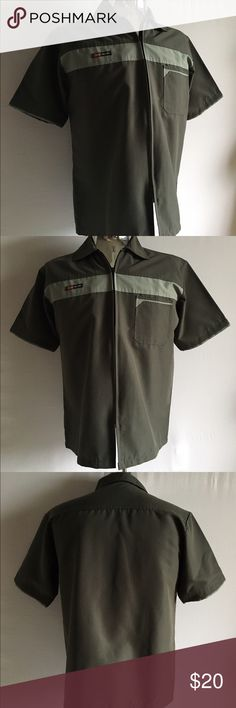"Diesel Zip Shirt Diesel Zip Shirt comes in olive green with a front zipper closure, a single chest pocket and short sleeves. Size: L Chest: 44"" Length: 27"" Shoulder to Shoulder: 18"". In like new condition. Diesel Shirts Casual Button Down Shirts"