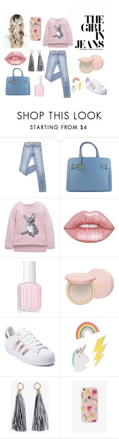 """The Girl in Jeans"" by eightyeight-88 ❤ liked on Polyvore featuring Lime Crime, Essie, Too Faced Cosmetics, adidas, Red Camel and The Casery"