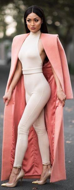 Jumpsuit from @fashionnova // Coat by @houseofcb // Heels @balmain / Fashion by Micah Gianneli