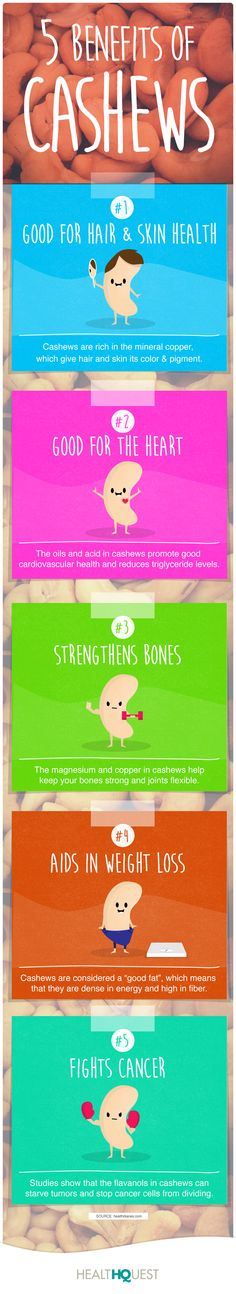 Cashews are so good for you! Eat some and enjoy the health benefits :)